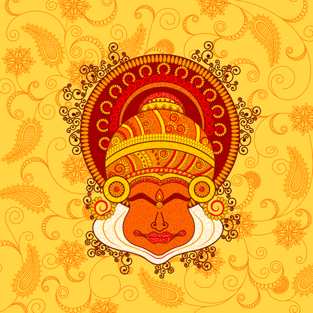 Vector design of kathakali dancers face in Indian art style