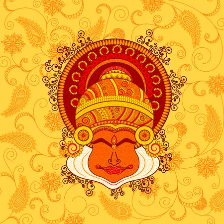 Vector ontwerp van het gezicht van Kathakali danser in Indian kunststijl Stock Illustratie