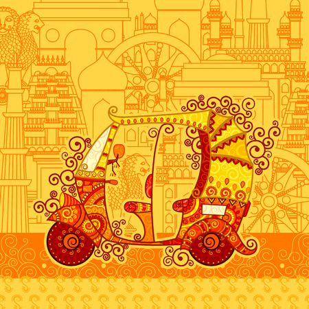 retro art: Vector design of auto rickshaw on famous monument backdrop in Indian art style