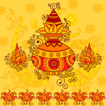 pooja: Vector design of kalash with coconut, mango leaves and diya in Indian art style