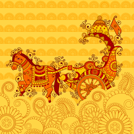 Vector design of Happy Dussehra chariot in Indian art style