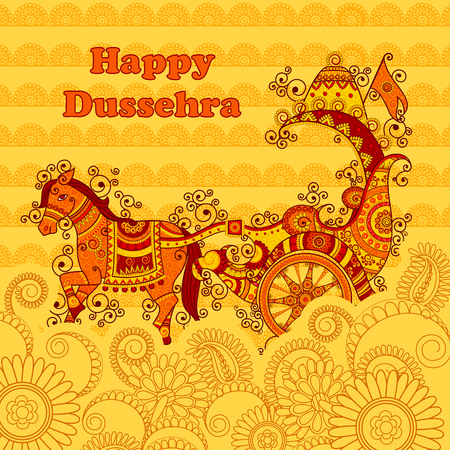 chariot: Vector design of Happy Dussehra chariot in Indian art style