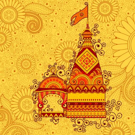 hindu temple: Vector design of hindu temple Happy Dussehra in Indian art style