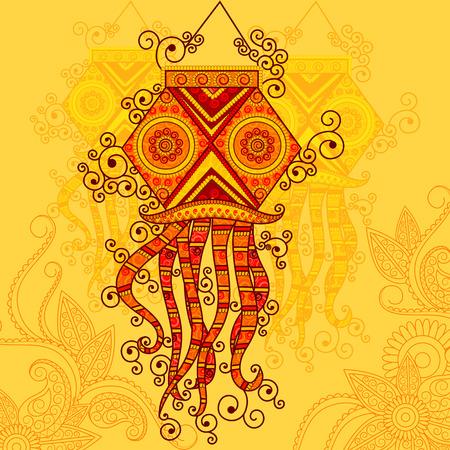 Diseño del vector del Día de la Independencia de la lámpara que cuelga en el estilo de arte indio