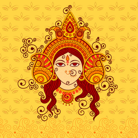 Vector design of Goddess Durga in Indian art style