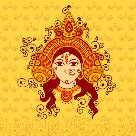 Vector ontwerp van de godin Durga in Indian kunststijl Stock Illustratie