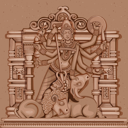 mahishasura: Vector design of Vintage statue of Indian Goddess Durga sculpture engraved on stone