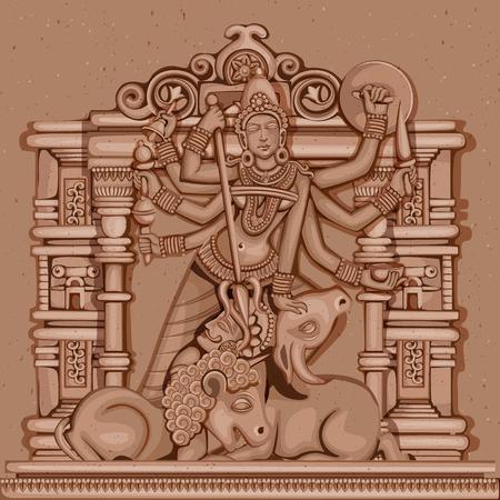 devi: Vector design of Vintage statue of Indian Goddess Durga sculpture engraved on stone