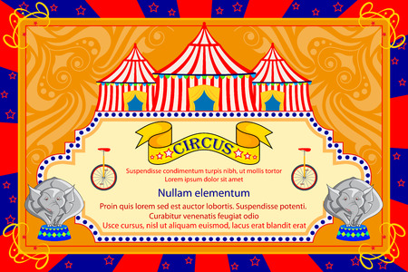 advertisment: vector illustration of Vintage Circus Cartoon Poster Invitation for Party, Carnival and Advertisment