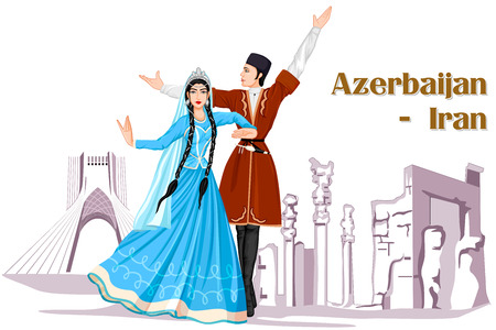 folk dance: Vector design of Irani Couple performing Azerbaijan dance of Iran Illustration