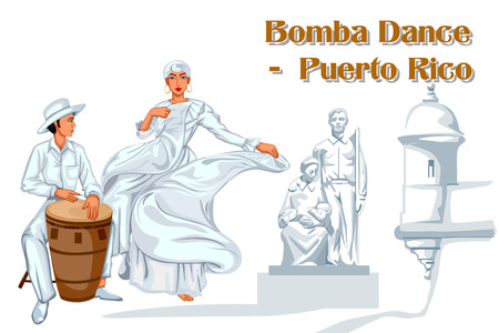 folk dance: Vector design of Puerto Rican Couple performing Bomba dance of Puerto Rico Illustration