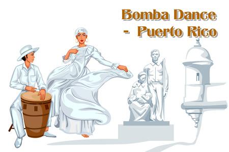 Vector design of Puerto Rican Couple performing Bomba dance of Puerto Rico Vetores