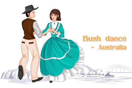 Vector design of Australian Couple performing Bush dance of Australia