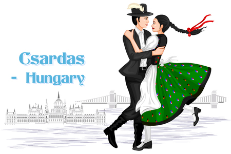 Vector design of Hungarian Couple performing Csardas dance of Hungary