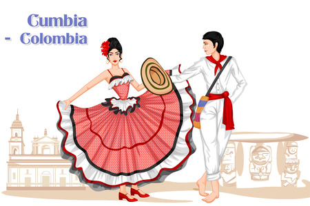colombian: Vector design of Colombian Couple performing Cumbia dance of Colombia