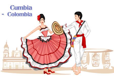 Vector design van de Colombiaanse Echtpaar uitvoeren Cumbia dans van Colombia