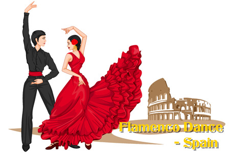 Vector design of Spaniard Couple performing Flamenco dance of Spain Çizim