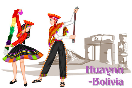 folk dance: Vector design of Bolivian Couple performing Huayno dance of Bolivia Illustration