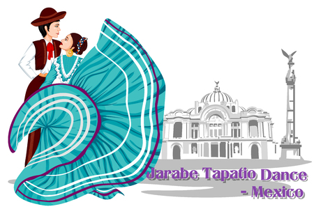 folk dance: Vector design of Mexican Couple performing Jarabe Tapatio Dance of Mexico