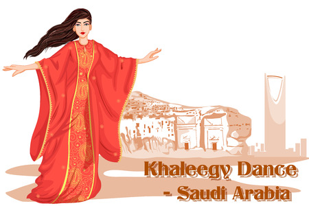 folk dance: Vector design of Saudi Woman performing Khaleegy dance of Saudi Arabia Illustration