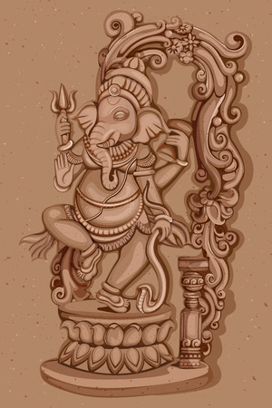 ganapati: Vector design of Vintage statue of Indian Lord Ganesha sculpture engraved on stone