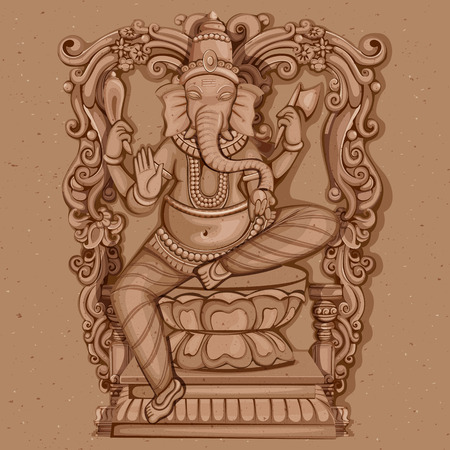 carving: Vector design of Vintage statue of Indian Lord Ganesha sculpture engraved on stone