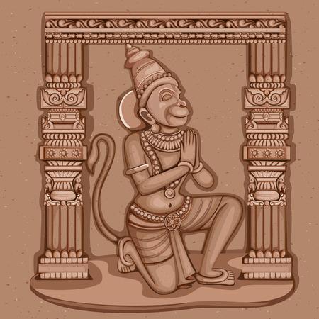 돌에 새겨진 인도 주님 Hanuman 조각의 빈티지 동상의 벡터 디자인
