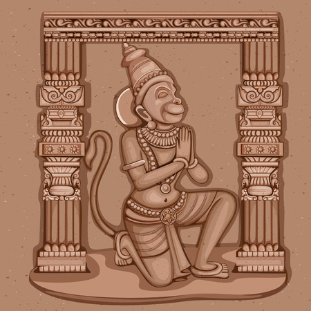 Vector design of Vintage statue of Indian Lord Hanuman sculpture engraved on stone Illustration