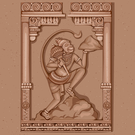 Vector design of Vintage statue of Indian Lord Hanuman sculpture engraved on stone Illustration
