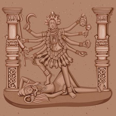 devi: Vector design of Vintage statue of Indian Goddess Kali sculpture engraved on stone Illustration