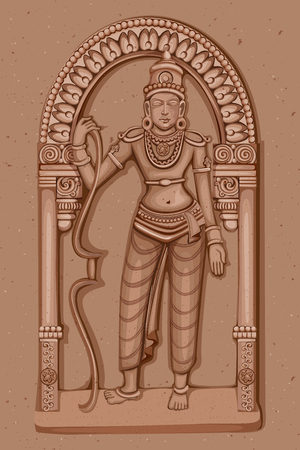 rama: Vector design of Vintage statue of Indian Lord Rama sculpture engraved on stone Illustration