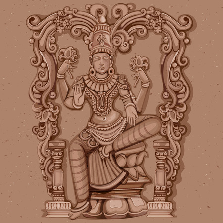 Vector design of Vintage statue of Indian Goddess Lakshmi sculpture engraved on stone