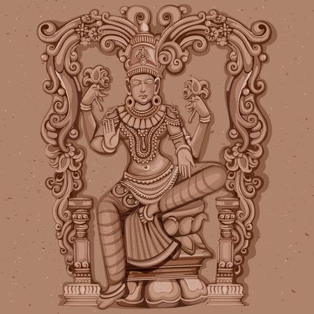 Vector ontwerp van vintage standbeeld van de Indiase godin Lakshmi sculptuur gegraveerd op steen