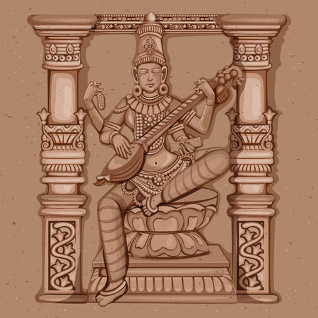 Vector design of Vintage statue of Indian Goddess Saraswati sculpture engraved on stone Illustration