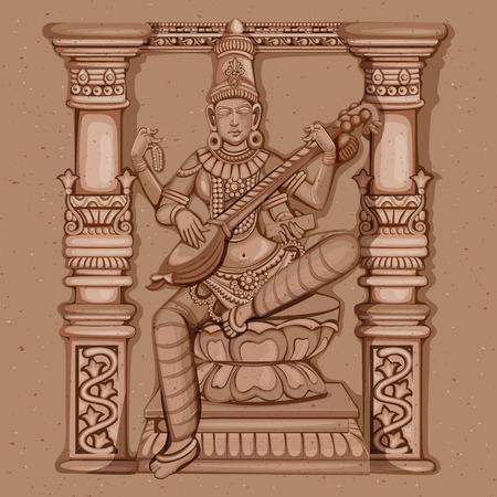 Vector ontwerp van vintage standbeeld van de Indiase Godin Saraswati sculptuur gegraveerd op steen