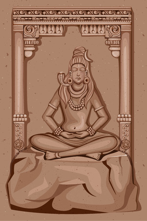 shiva: Vector design of Vintage statue of Indian Lord Shiva sculpture engraved on stone Illustration