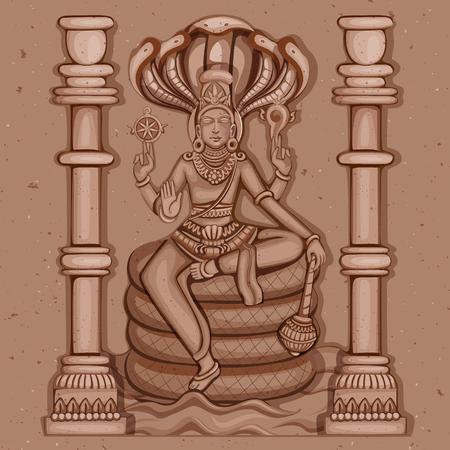 mahadev: Vector design of Vintage statue of Indian Lord Shiva sculpture engraved on stone Illustration