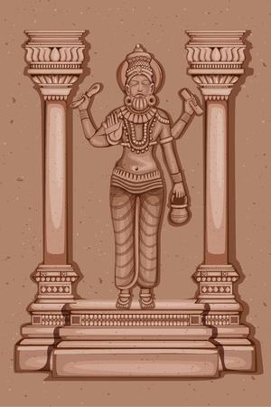 Vector design of Vintage statue of Indian God Vishwakarma sculpture engraved on stone Illustration