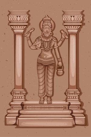 Vector design of Vintage statue of Indian God Vishwakarma sculpture engraved on stone Illustration