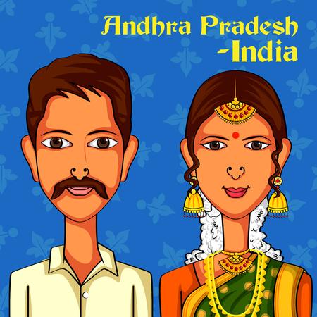 design costume: Vector design of Andhrait Couple in traditional costume of Andhra Pradesh, India