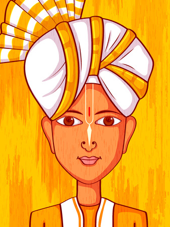 sha: Vector design of Manipuri Man in traditional costume of Manipur, India Illustration