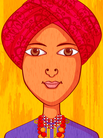 asian and indian ethnicities: Vector design of Meghalayan Man in traditional costume of Meghalaya, India