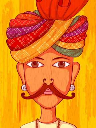 rajasthani: Vector design of Rajasthani Man in traditional costume of Rajasthan, India