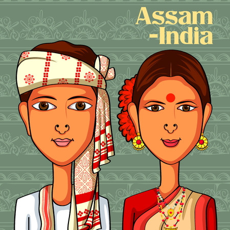 assam tea: Vector design of Assamese Couple in traditional costume of Assam, India