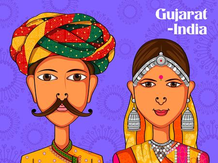 diseño del vector de los pares Gujarati con el traje tradicional de Gujarat, India