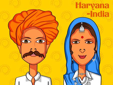 haryana: Vector design of Haryanvi Couple in traditional costume of Haryana, India