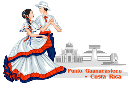 folk dance: Vector design of Couple performing Punto Guanacasteco of Costa Rica