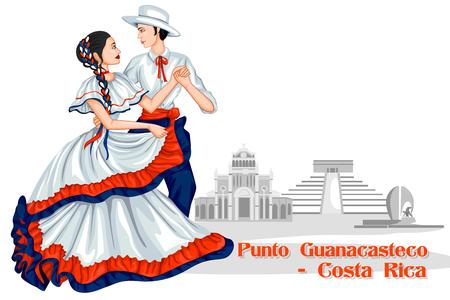 Vector design of Couple performing Punto Guanacasteco of Costa Rica