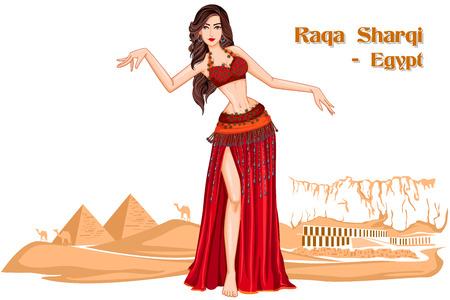 bailarinas arabes: dise�o del vector de la mujer egipcia realizar Raqs Sharqi la danza de Egipto Vectores