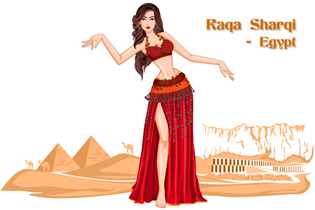 egyptian woman: Vector design of Egyptian Woman performing Raqs Sharqi dance of Egypt